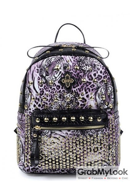 Gold Leopard Tiger Print Metal Studs Punk Rock Gothic Funky Backpack
