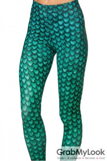Green Fish Scales Skinny Long Yoga Pants Tights Leggings