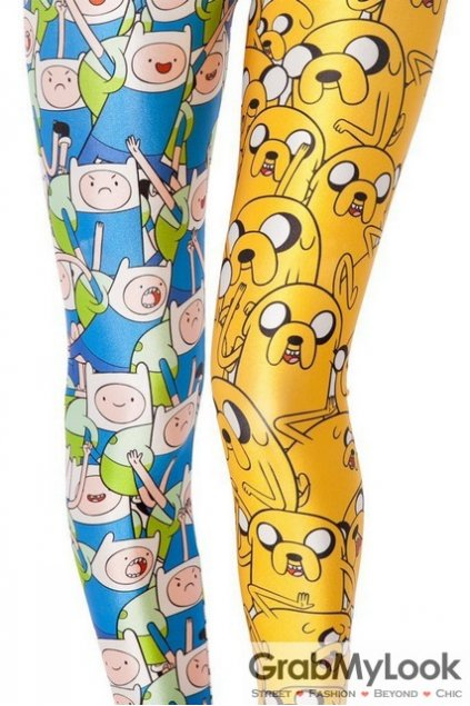 Yellow Blue Cartoons Comics Skinny Long Yoga Pants Tights Leggings