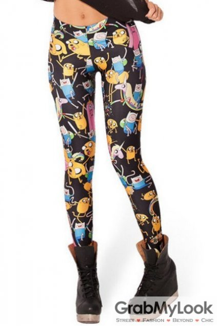 Black Cartoons Comics Monogram Skinny Long Yoga Pants Tights Leggings