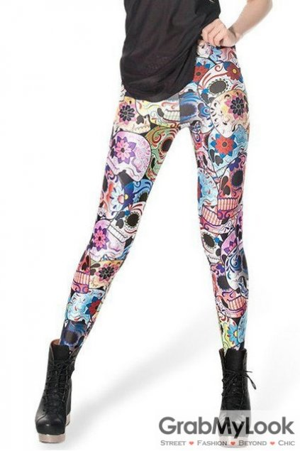 White Flowers Floral Skulls Punk Rock Gothic Skinny Long Yoga Pants Tights Leggings