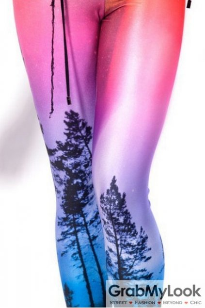 Pink Blue Trees Forest Print Punk Rock Leggings Long Pants