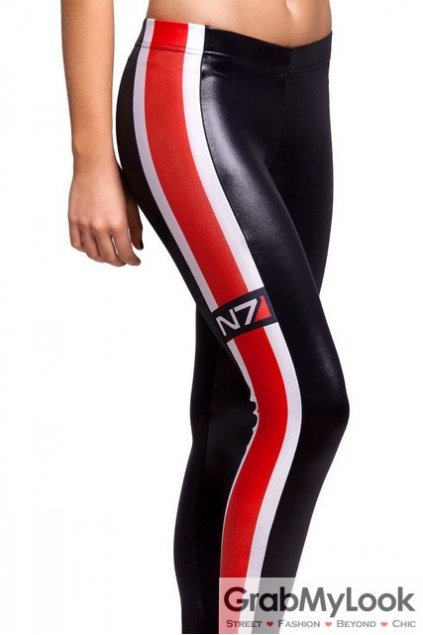Black Red N7 Vertical Stripes Skinny Long Yoga Pants Tights Leggings