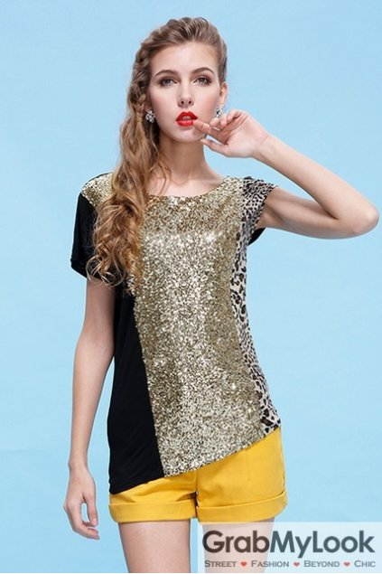 Black Asymetric Sequins Glitters Leopard Short Sleeves Top T-Shirt