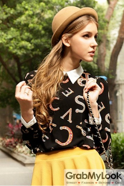 Black White Collar Vintage Alphabets Gothic Long Sleeves Blouse Chiffon Shirt