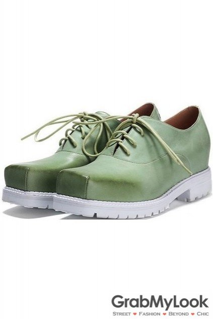 Vintage Green Turquoise Leather Blunt Head Old School Lace Up Oxfords Women Shoes