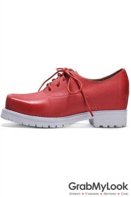 Vintage Red Leather Blunt Head Old School Lace Up Oxfords Women Shoes