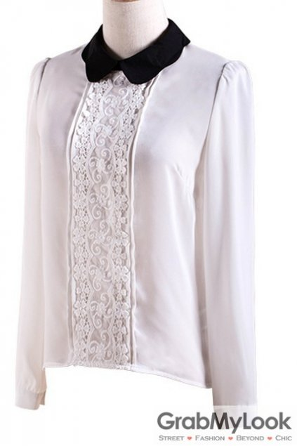White Black Peterpan Collar Vintage Long Sleeves Blouse Chiffon Shirt