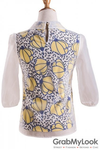 Blue Yellow Butterfly Organza Mid Sleeves Blouse Chiffon Shirt