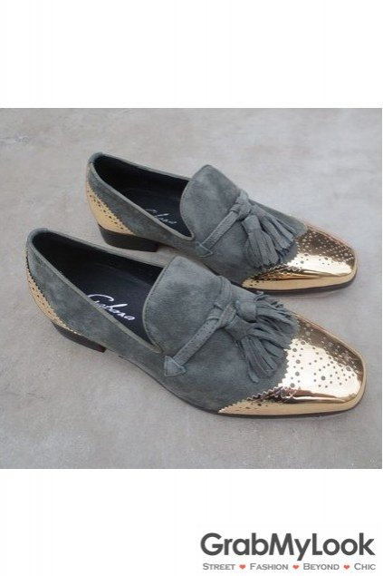 Grey Metal Cap Suede Leather Mens Blunt Head Tassels Mens Loafers Oxfords Shoes