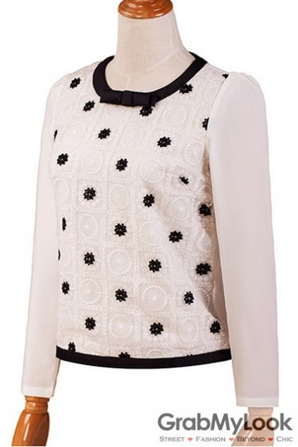 White Black Embroidert Pattern Long Sleeves Chiffon Shirt Blouse