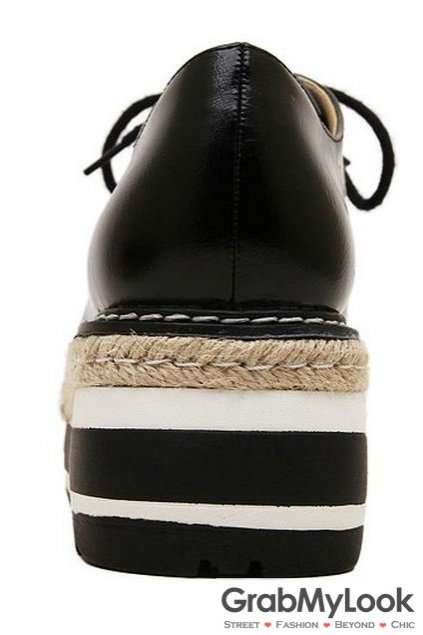 Black White Stitches Lace Up Black Platforms Sneakers Oxfords Women Shoes