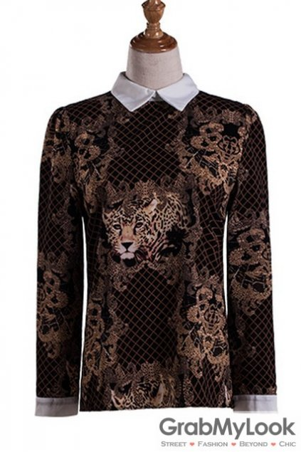 Black Brown Collar Vintage Pattern Gothic Long Sleeves Blouse Chiffon Shirt