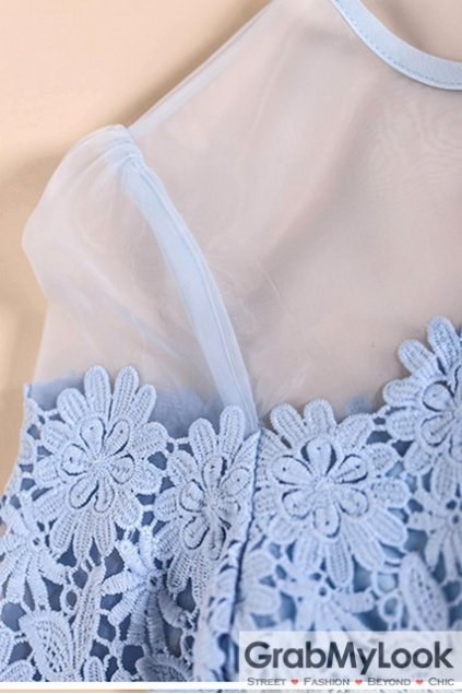 Blue Sexy Shoulder Organza Crochet Flowers MId Sleeves Blouse Top
