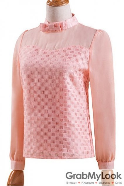 Pink Bow Organza Elegant Long Sleeves Blouse Chiffon Shirt