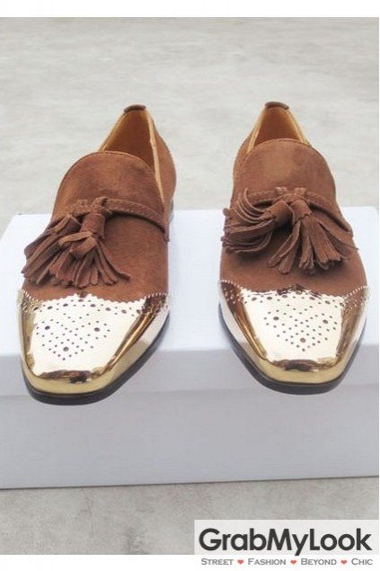 Brown Metal Cap Suede Leather Mens Blunt Head Tassels Mens Loafers Oxfords Shoes