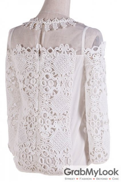 White Crochet Lace Vintage Long Sleeves Blouse Chiffon Shirt