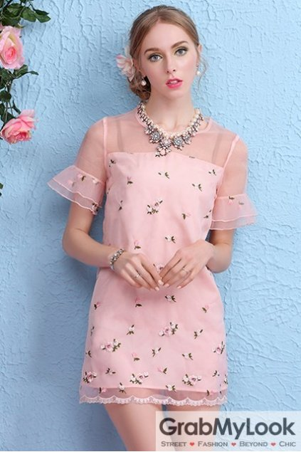 Pink Sheer Organza Short Sleeves Flower Floral A-line Cocktail Skirt Dress Skirt