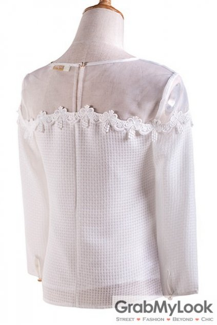 White Organza Sexy Shoulder Vintage Long Sleeves Blouse Chiffon Shirt