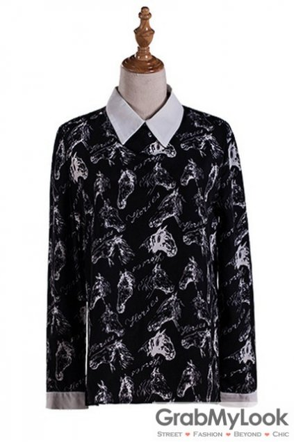 Black White Collar Vintage Horses Gothic Long Sleeves Blouse Chiffon Shirt