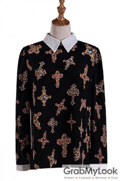 Black White Collar Vintage Jewels Cross Pattern Gothic Long Sleeves Blouse Chiffon Shirt