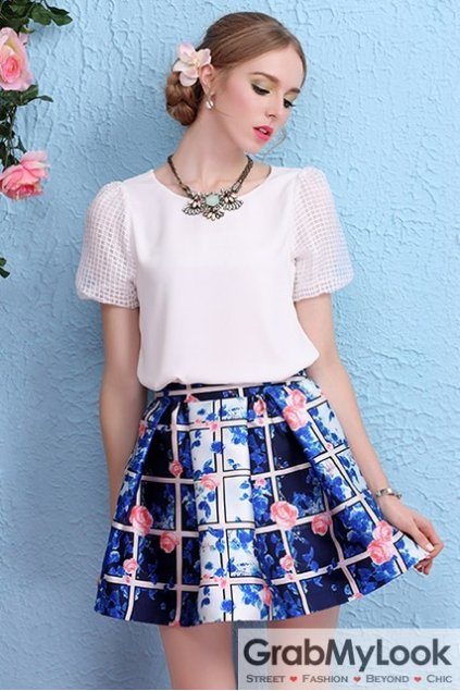 White Short Sleeves Round Neck Back Black Bow T-Shirt Top Blouse