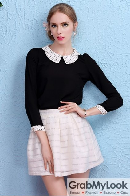 Black Peterpan Collar Polkadots Long Sleeves Blouse Chiffon Shirt