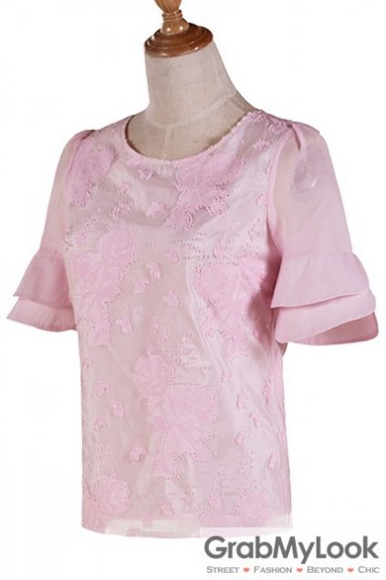 Pink Sexy Florals Flowers Mid Flounce Sleeves Blouse Top