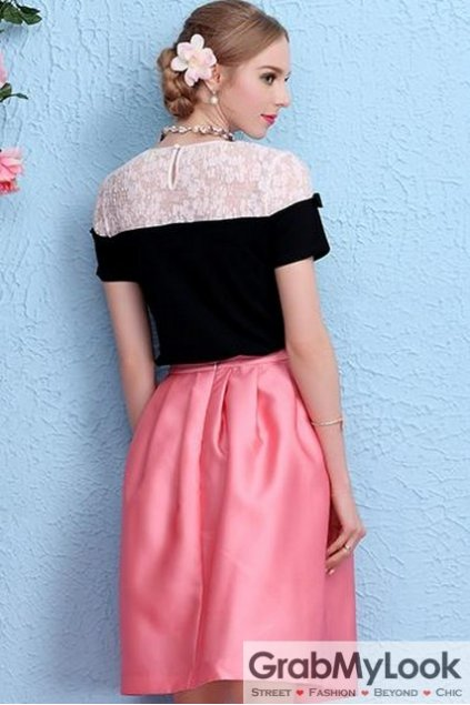 Sexy Lace Crochet Shoulder Black Bow Short Sleeves Blouse Top T-Shirt