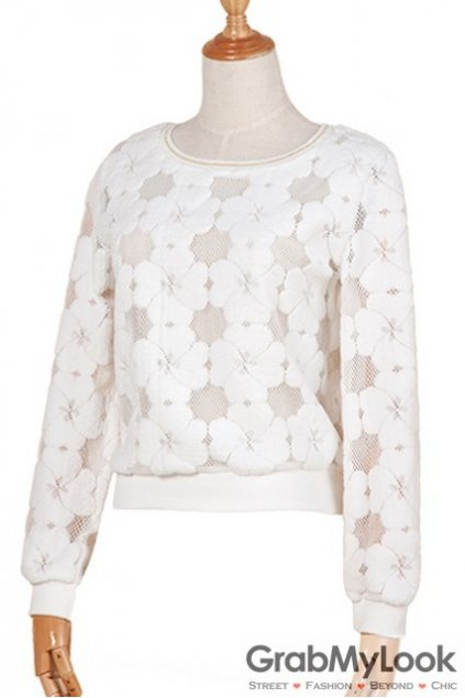 White Long Sleeves Elagant Flowers Sheer Cropped T-Shirt Sweatshirt