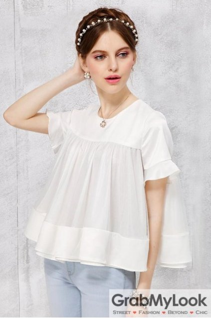 White Short Sleeves Organza Baby Doll Flounce Top Blouse