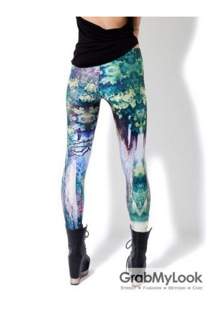 Blue Alice in the Wonderland Cat in Forest Long Yoga Pants Tights Leggings