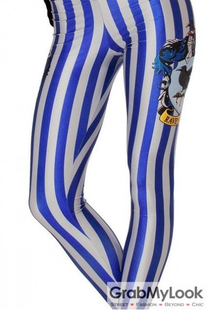 Ravenclaw Blue Vertical Stripes Skinny Long Yoga Pants Tights Leggings