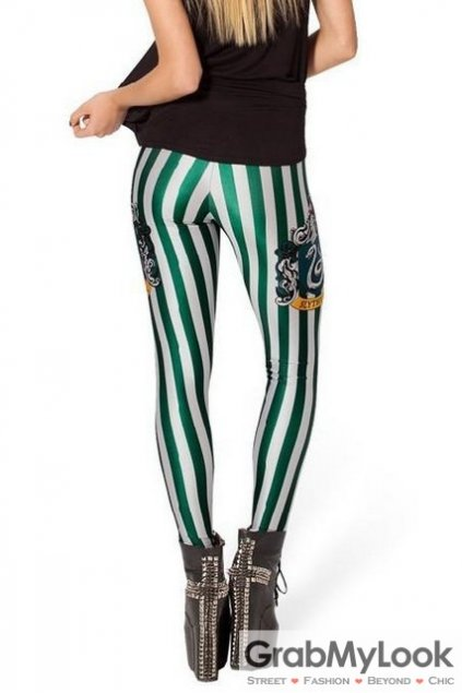 Ravenclaw Green Vertical Stripes Skinny Long Yoga Pants Tights Leggings