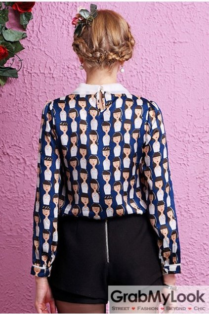 Blue Peterpan Swan Organza Collar Heads Monogram Long Sleeves Blouse Chiffon Shirt