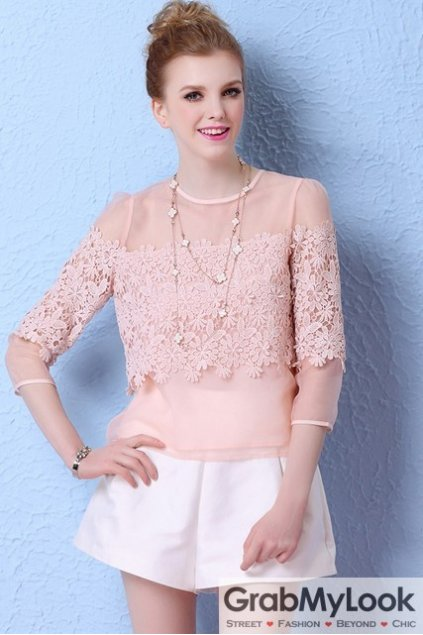 Pink Sexy Shoulder Organza Crochet Flowers MId Sleeves Blouse Top