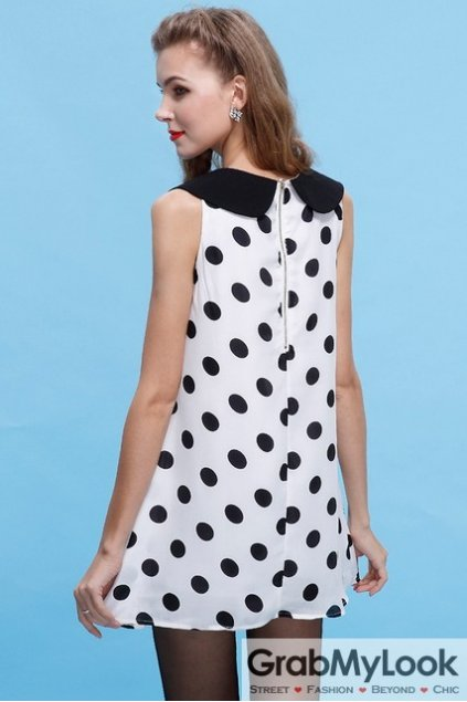 Vintage Sleeveless Vest Polkadots Peterpan Collar A-line Cocktail Skirt Dress Skirt