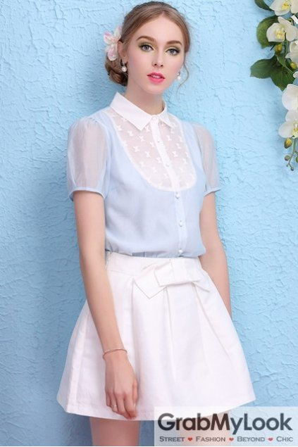 Blue Organza White Collar Short Sleeves Blouse Top T-Shirt