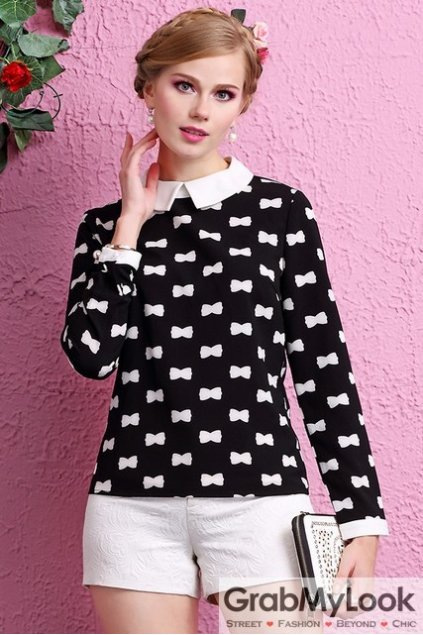 Black Peterpan Collar Dog Bones Monogram Long Sleeves Blouse Chiffon Shirt