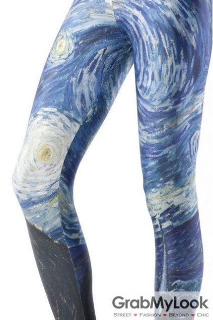 Blue Vincent Van Gogh Starry Night Oil Painting Long Yoga Pants Tights Leggings