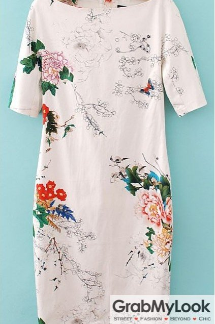 Vintage Floral Pattern White Cheongsam Dress