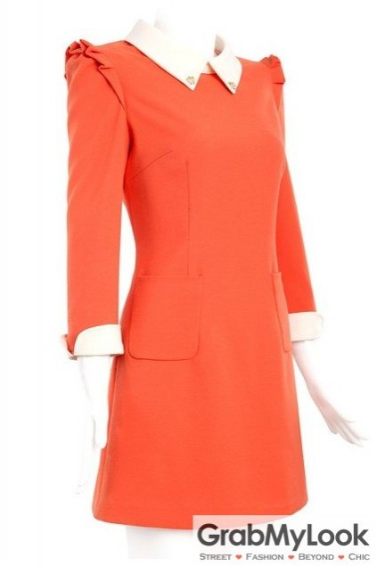Red Orange Office Long Office White Colar Pleated Dress Skirt