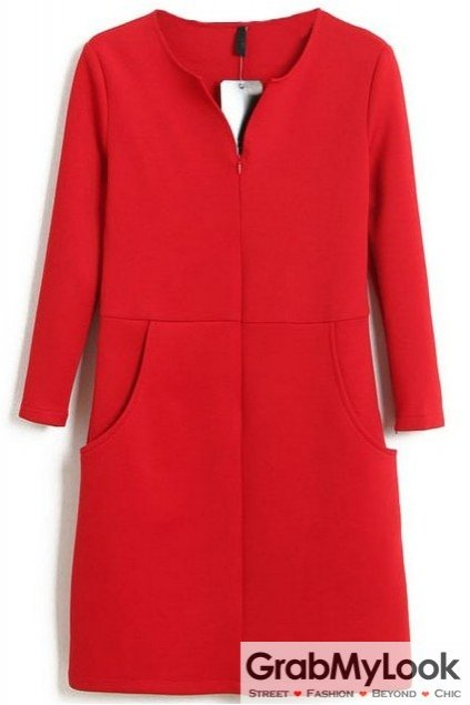 Red Long Sleeves V Neck Split Formal Office Dress