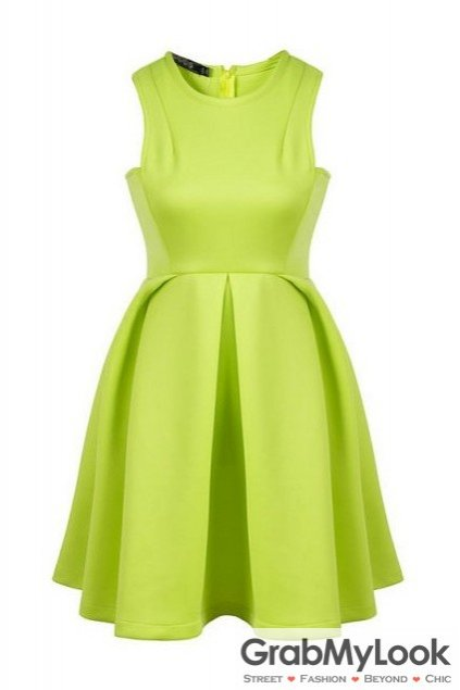 Neon Green Pleated Round Neck Sleeveless Flare Mini Party Dress