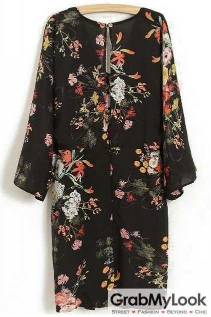 Black Vintage Round Neck  Flower Floral Long Sleeves Bodycon Cocktail Dress Skirt