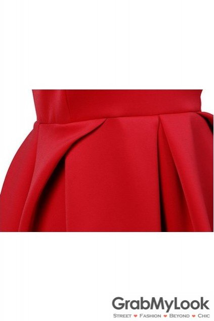 Red Pleated Round Neck Sleeveless Flare Mini Party Dress