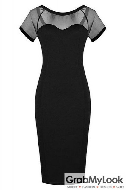 Simple Black Mesh Sheer Bodycon Party Formal Dress Skirt
