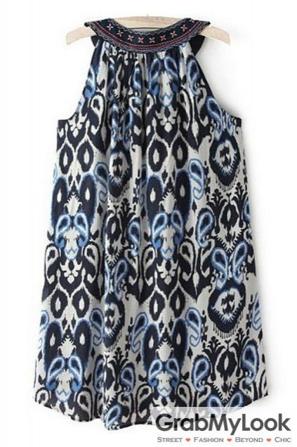 Blue Vintage Embroidered Sleeveless Tank Top Dress