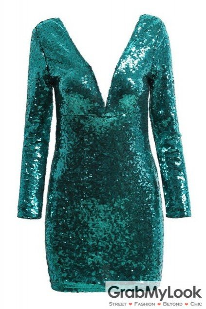 Sequined Green Party Long Sleeves Backless Bodycon Dress