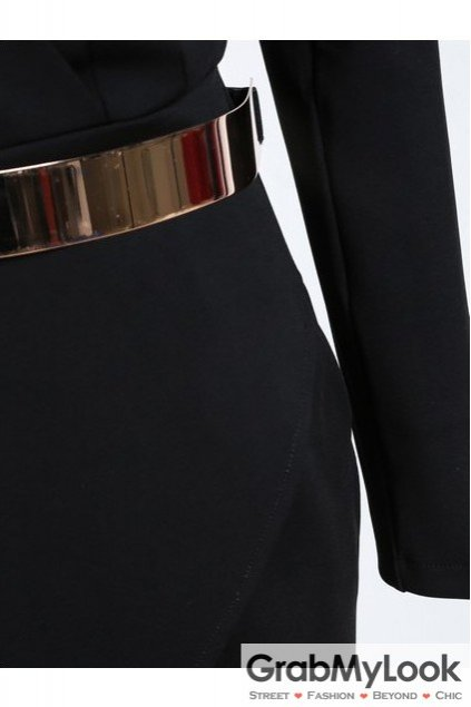 Black Bodycon V Neck Asymmetric Belt Dress Suit